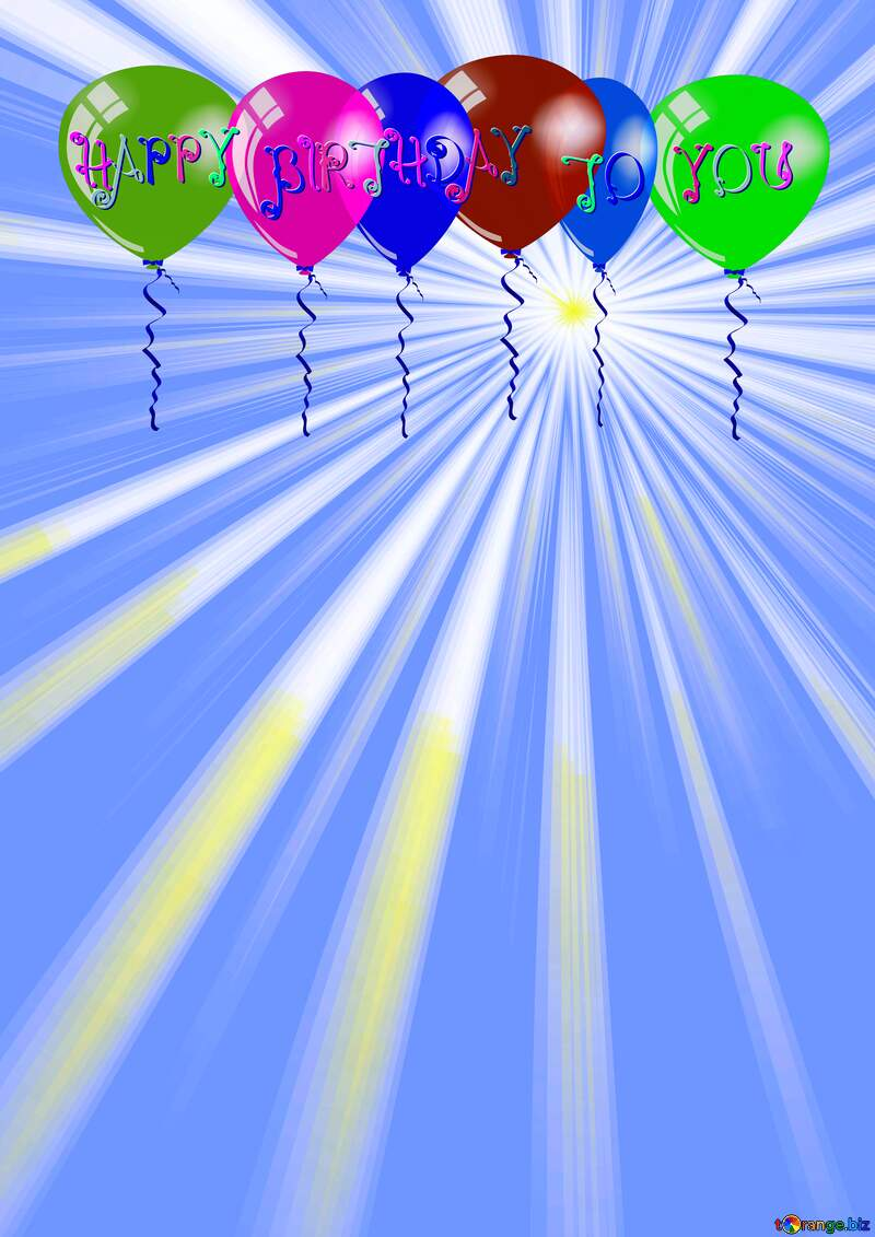 Happy Birthday Air Balloons Rays of sunlight №49660