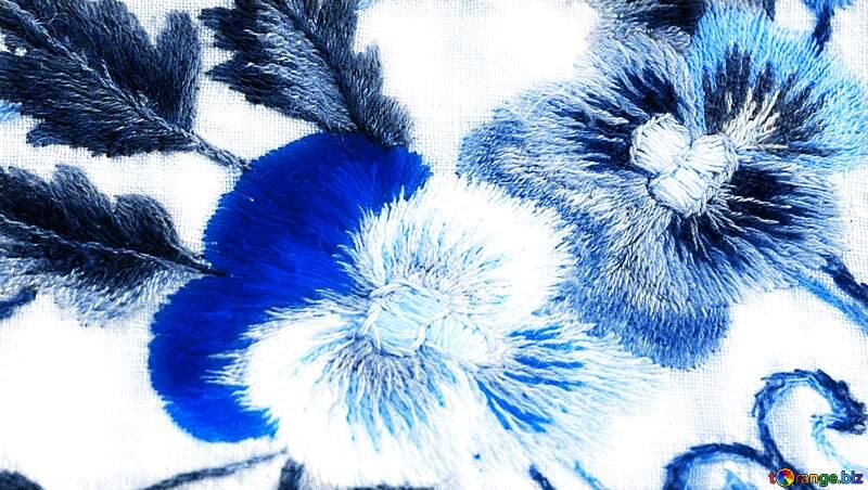 Old folk blue  embroidery garment decoration.Texture. №23479
