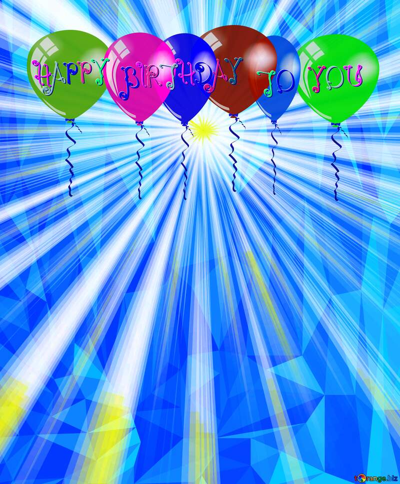 Polygon Happy Birthday Air Balloons sunlight background №49660
