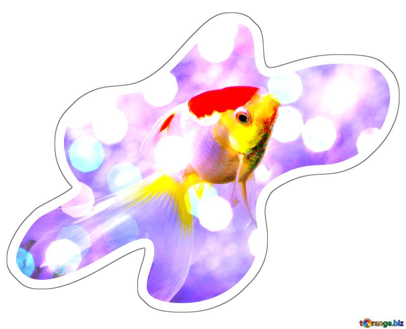 Sticker red and yellow fish on blue bokeh  background №53790