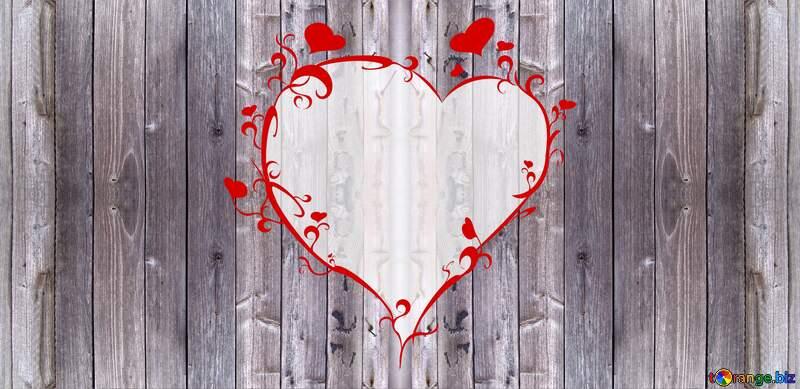 Wooden board.Texture. heart frame №5322