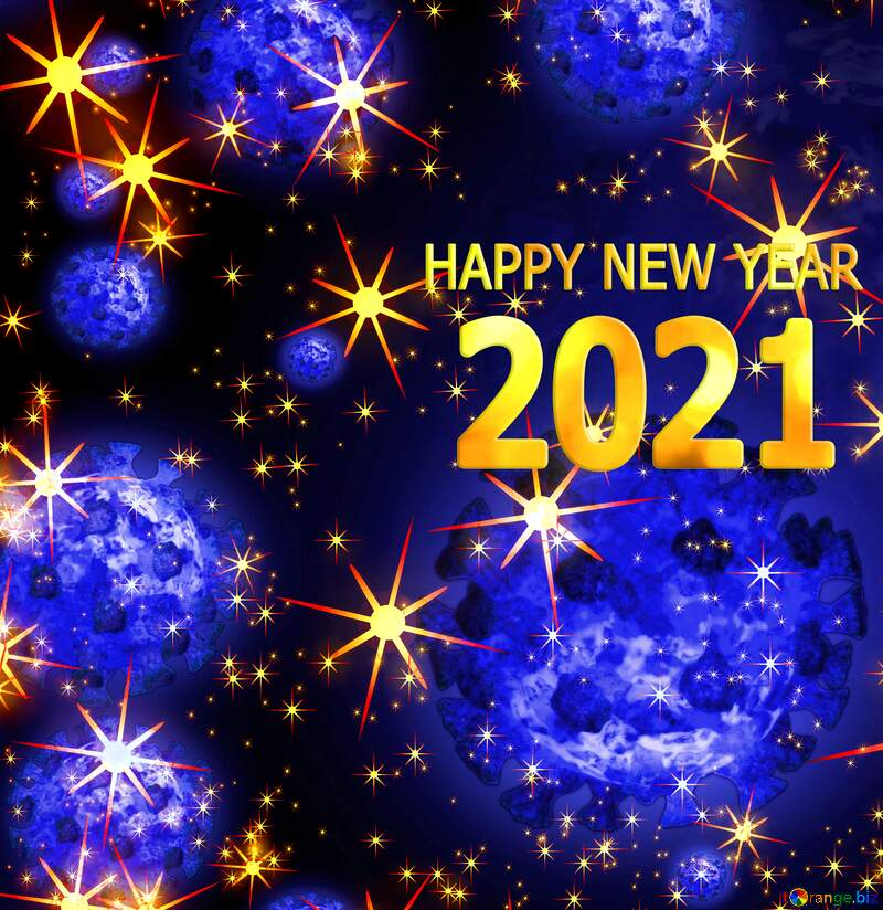 Covid 19 Happy New Year 2021 background №54495