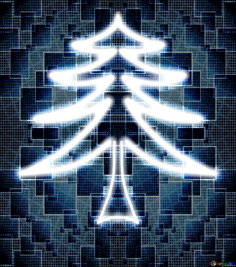Futuristic Christmas tree Technology background №40649