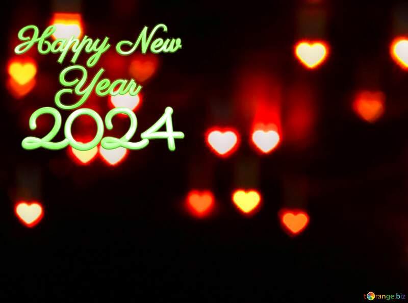 happy new year 2022 Hearts bokeh background №37853