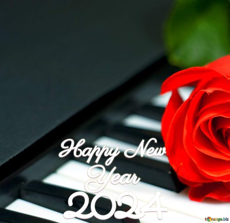 Rose on keys piano happy new year 2022 №7198