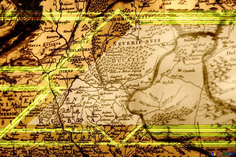 Texture old map gold lines top left botom frame №43648