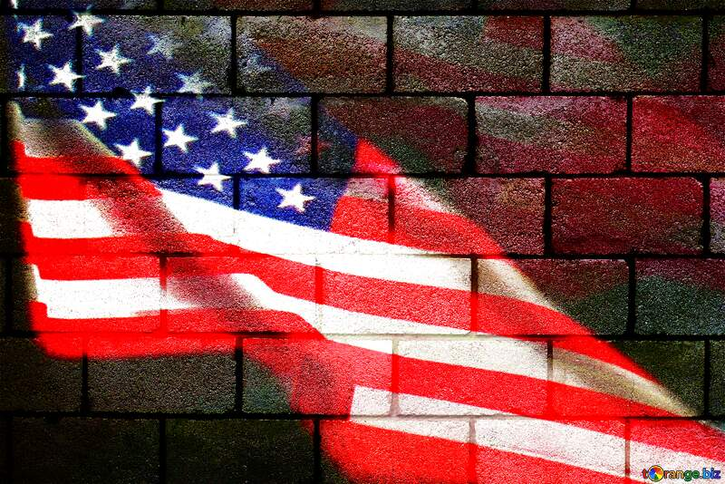 The wall of concrete blocks.texture. USA American Flag background №5320