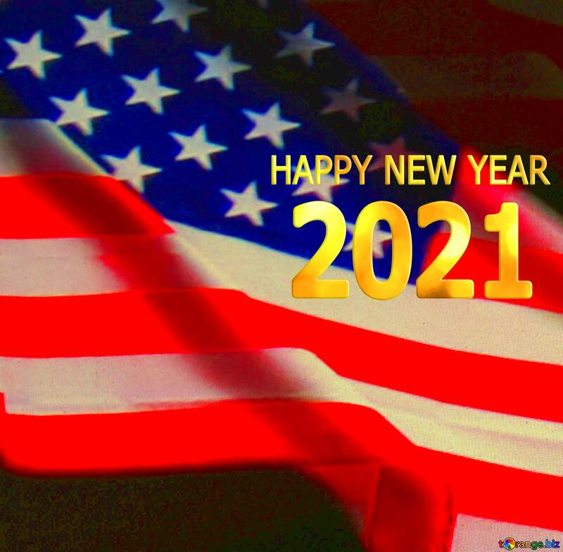 American Flag dark background Happy New Year 2021 №52480