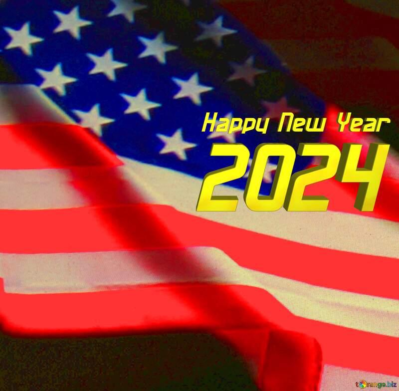 American Flag dark background Happy New Year 2022 №52480