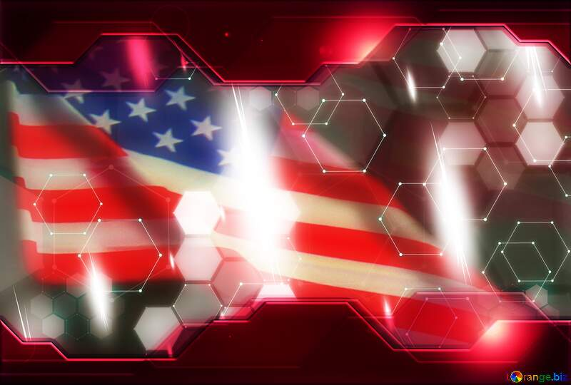 American Flag Technology background Red №52480