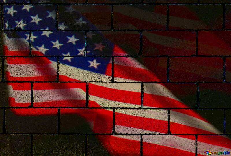 American Flag wall blocks background №52480