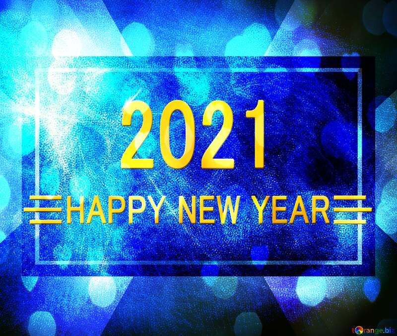 Blue background happy new year 2021 gold design №40636