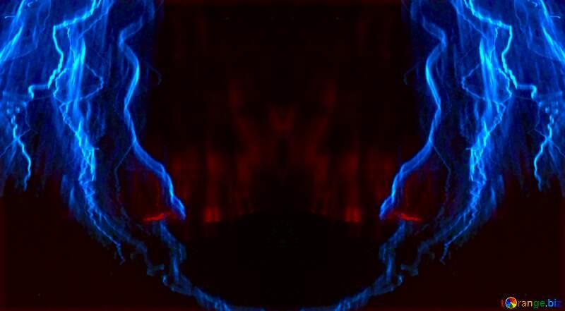 Blue fractal  electric discharge lightning №25856