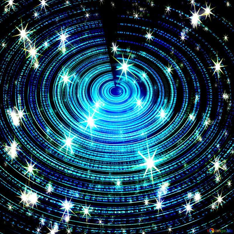 Blue circle space fractal art design futuristic digital stars pattern background №49672