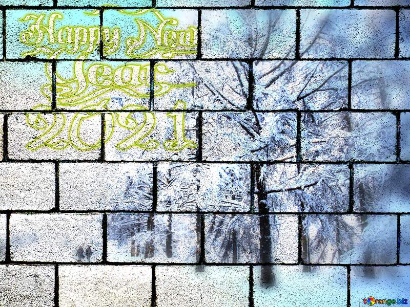 Winter Snow forest  Happy New Year 2021 wall blocks №10568