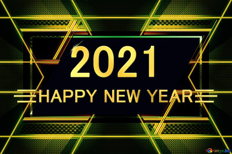 Carbon gold lines  design Happy New Year 2021 №54467