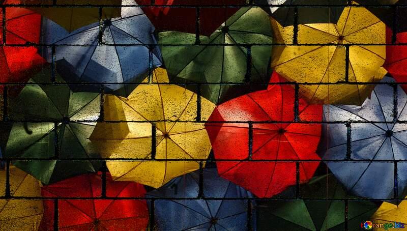 colored umbrellas wall blocks №40969