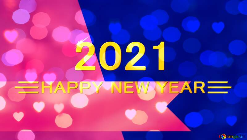 2021 happy new year pink blue  bokeh lights background №54865