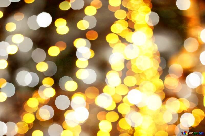 Golden Christmas twinkling lights №24617