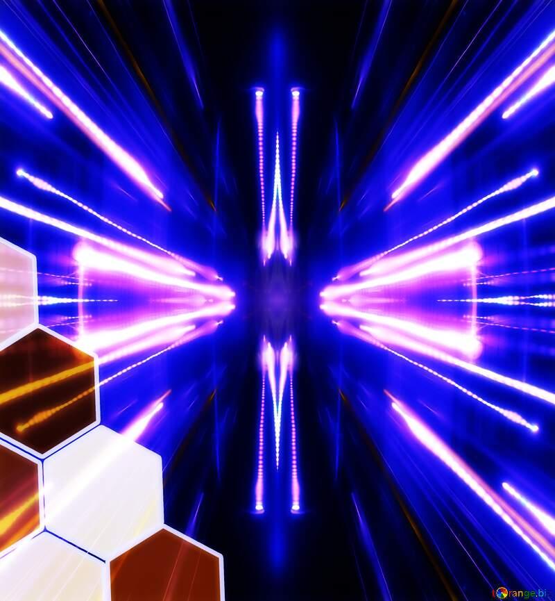 Honeycomb neon blue Lights Techno background №54863