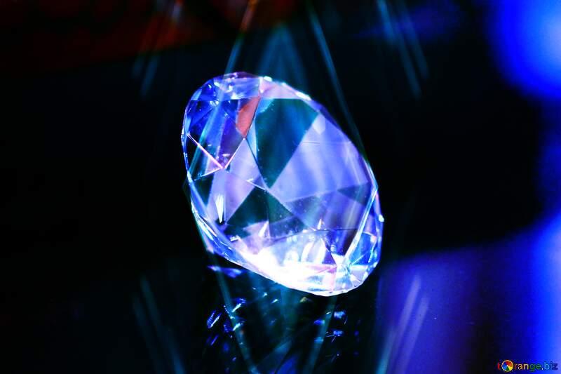 Electric blue light cobalt blue transparent material gemstone crystal reflection diamond dark background №52795