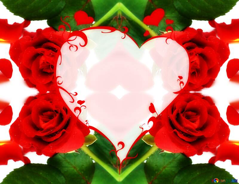 Heart frame template rose petals for editing №16874