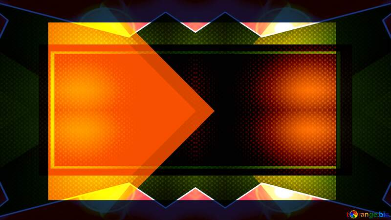 orange shape, green triangles, light effect thumbnail background hi-tech №54832