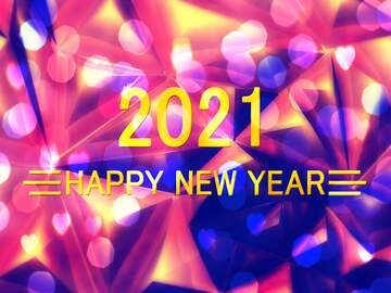 Visual effect lighting graphic design purple violet light text, background pattern happy year new 2021 bokeh polygon