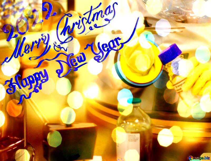 Virus yellow christmas background happy new year 2022 lettering text №54575