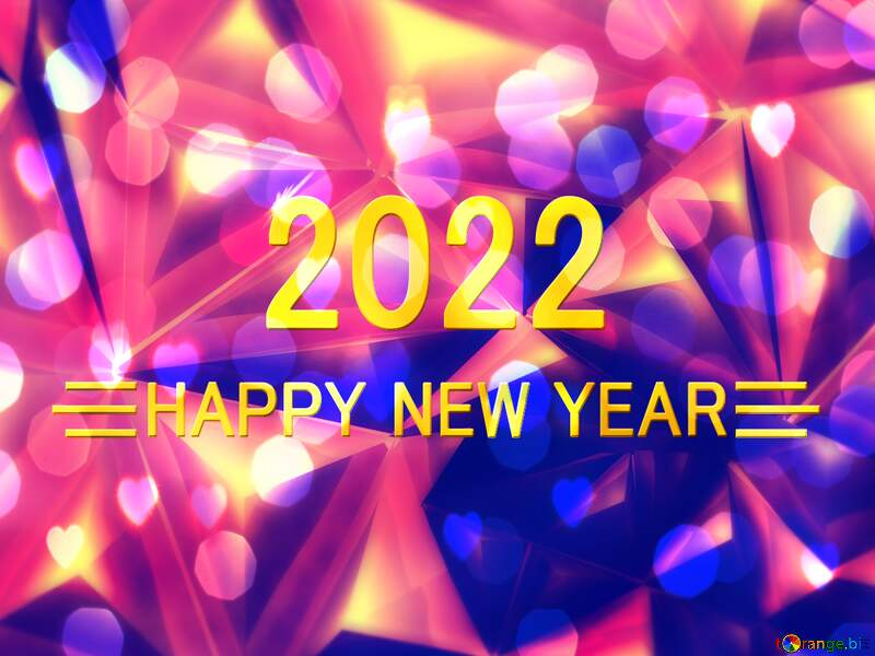 Visual effect lighting graphic design purple violet light text, background pattern happy year new 2022 bokeh polygon №51586