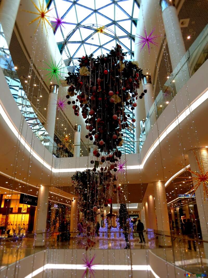 shopping centre atrium with  Christmas decoration №16250