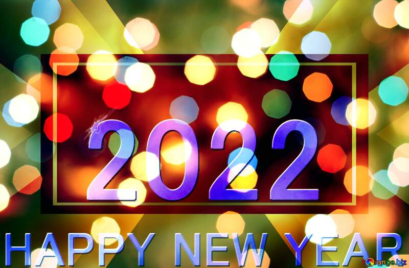 Blue gold  happy new year 2022 a close up of  visual effect lighting neon sign light №54487