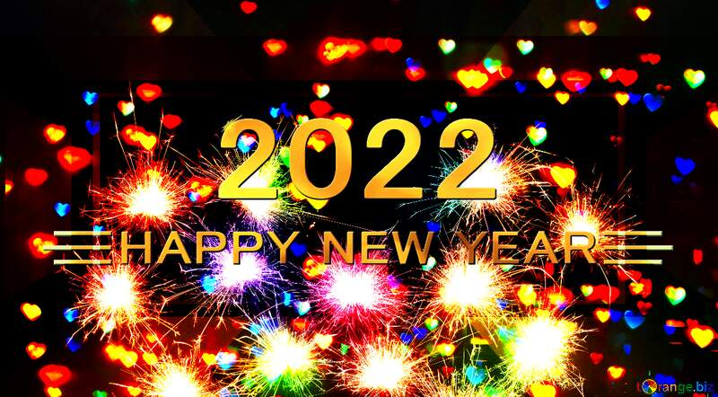 Neon lighting sparkler happy new year 2022 gold christmas outdoor light holiday background №25595