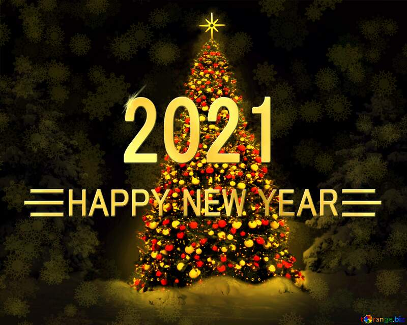 Christmas tree happy new year 2021 background №40739