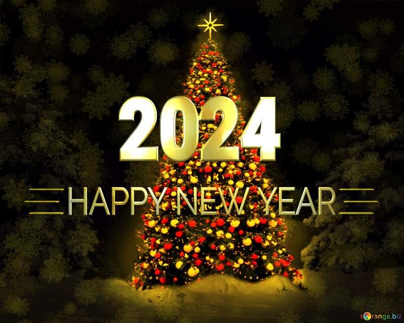 Happy New Year 2012  Christmas tree dark  background №40739