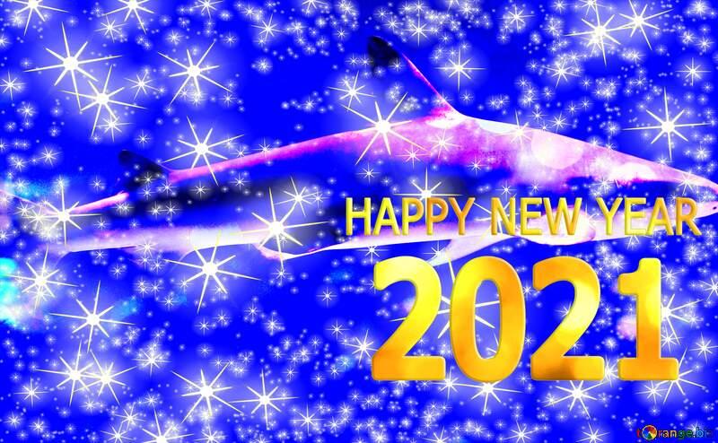 Blue  shark happy new year 2021 №53834