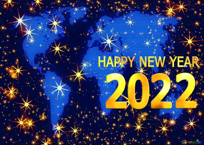 Happy new year 2022  World map holiday background №54495