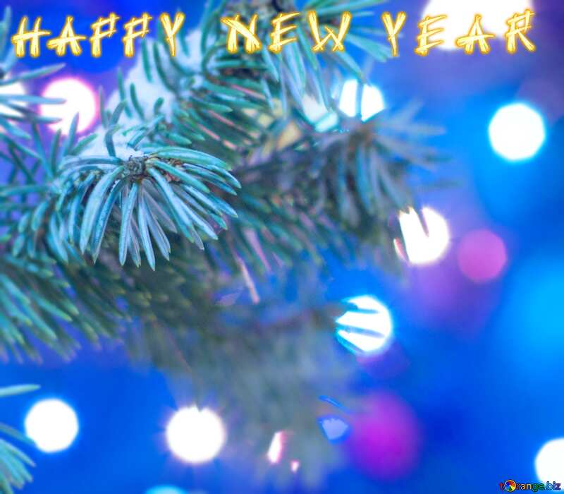 Christmas Tree blue happy new year №15316