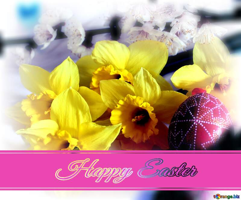 Happy Easter floral background №29968