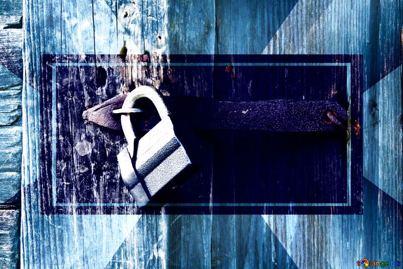 padlock wooden door powerpoint template banner design №3291