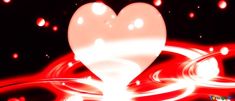 Red heart glow space background №54919