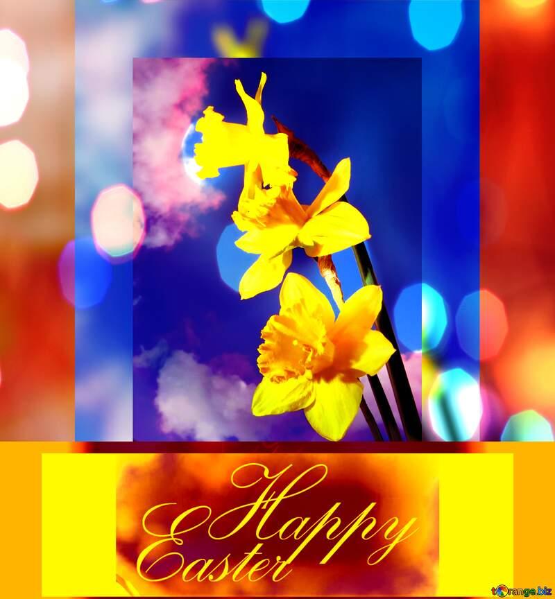 Spring Happy Easter floral  dark background №30957
