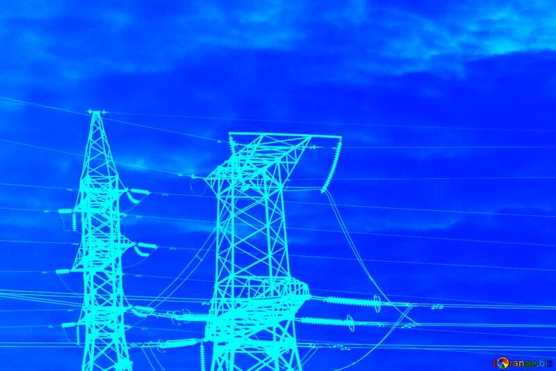Overhead power line blue background №936