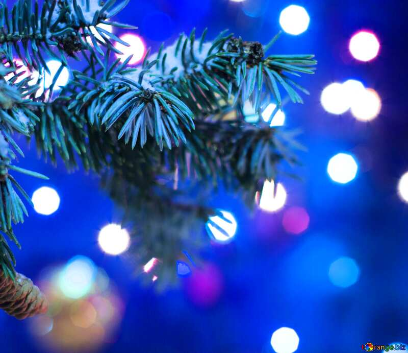 Christmas tree card blue bokeh №15316
