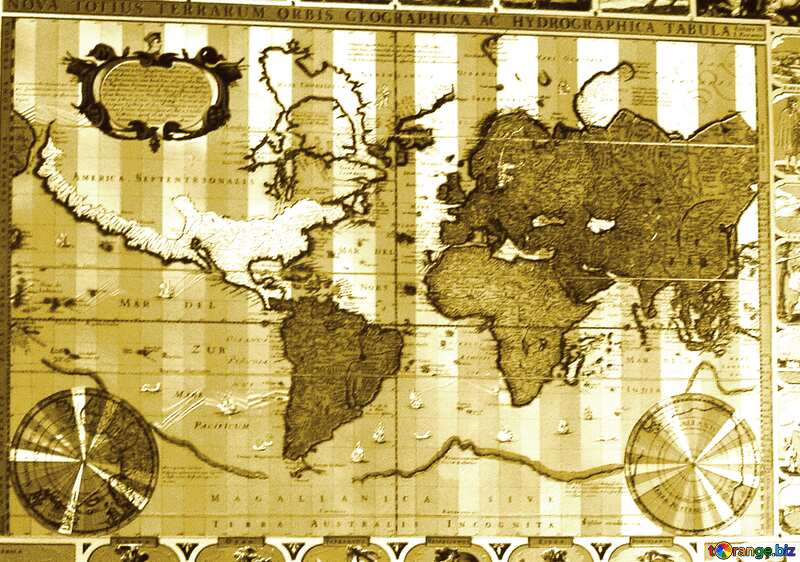 Monochrome. Ancient map of the world. №20742