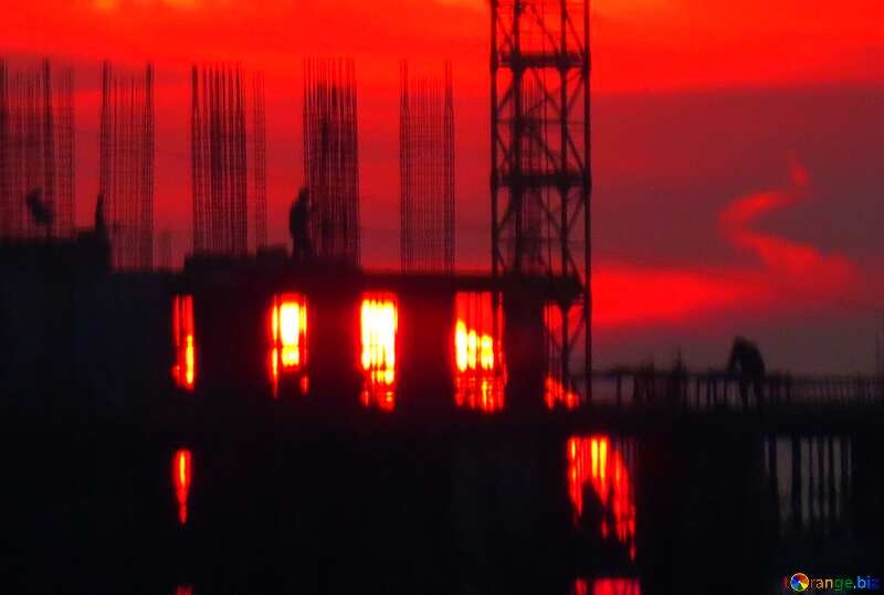 Red color. Sunset on background construction. №30336