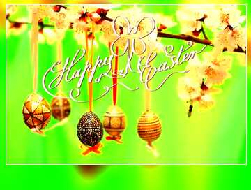 The effect of the mirror. The effect of the dark. Very Vivid Colours. Blur dark frame. Happy Easter card.