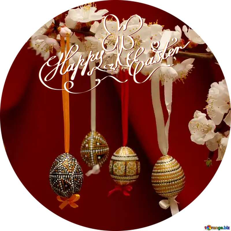 happy Easter eggs circle card №29845