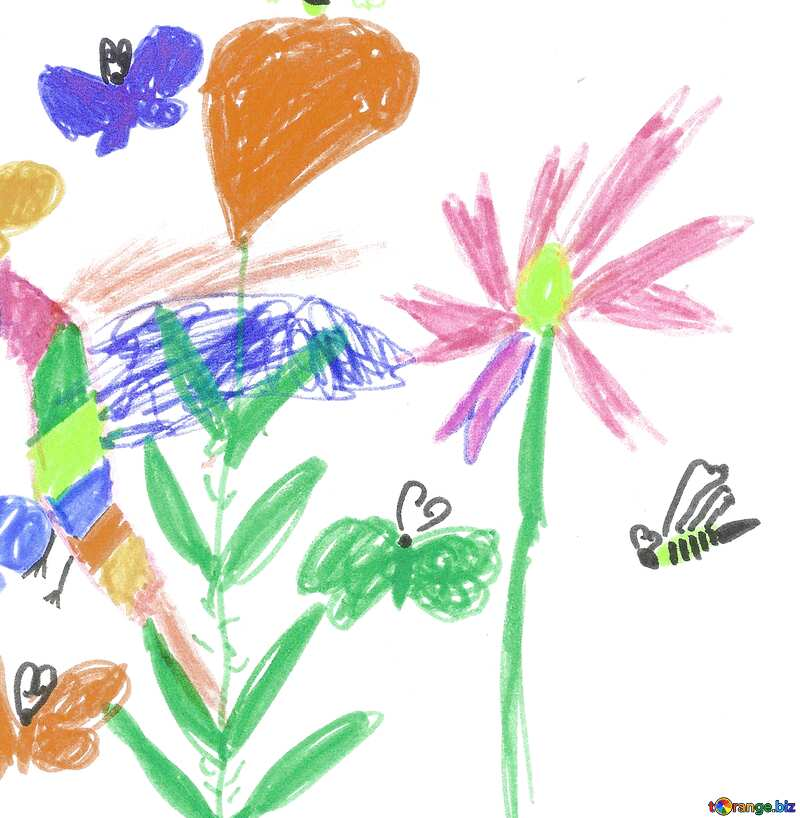 a drawing of flowers childrens №42783