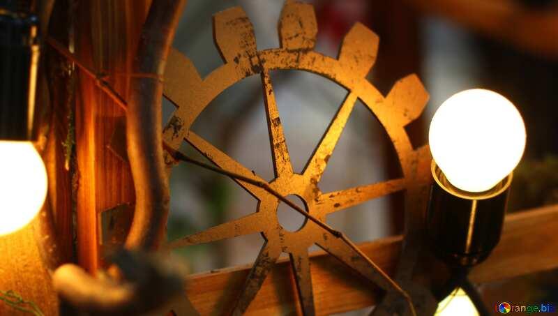 Steampunk style decor old incandescent bulbs gear №46934
